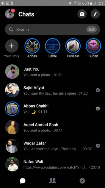 Messenger Chats in Dark theme